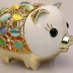 Big Pewter Pig Money <b>Jewelry</b> Box for Coins & Cash – Novelty Opal Studded Treasure Saving Bank, White & Rose Gold, 11*7.5*8 CM