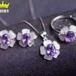 ZHHIRY Women Natural Amethyst Jewelry Set Genuine 925 Sterling <b>Silver</b> Semi Precious Stone Fine Jewelry Sets Birthstone