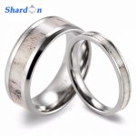 SHARDON 2017 new Couples Wild Antler <b>Wedding</b> Band Set Koa Wood & Wild Antler Titanium Rings(2pcs) Fashion lovers rings <b>Jewelry</b>