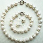 Prett Lovely Women's Wedding Boutique fashion lady 14MM bright white beads <b>jewelry</b> set-BGGR