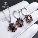 TBJ,natural good red color mozambique garnet gemstone jewelry set in 925 sterling <b>silver</b> nice special pendant <b>earring</b> for women