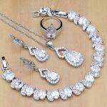 Silver 925 <b>Jewelry</b> Sets White Zircon Crystal Beads Wedding Decorations For Women Earrings Pendant <b>Necklace</b> Open Rings Bracelet