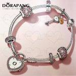 DORAPANG 2018 Valentine's Day Newest 925 Sterling <b>Silver</b> <b>Bracelet</b> Red Heart shaped Charm Bead for Women Fashion Bangle Jewelry