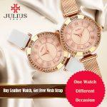 JULIUS JA-681 Watch Women Elegant Clock Stone Ladies Watches 2018 Spring New <b>Silver</b> Cheap Sale Watch Free Mesh Strap Waterproof