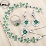 Wedding <b>Silver</b> 925 Costume Jewelry Sets For Women Earrings/Rings/Pendant/Necklace Set With Green Stones White Zircon Free Box