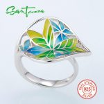 Silver Rings for Women Colorful Transparency Enamel Leaf Ring White Cubic Zirconia Women Ring Party Fashion <b>Jewelry</b> <b>HANDMADE</b>