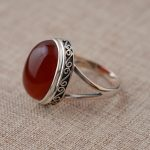FNJ Natural Red Stone Ring 925 Sterling <b>Silver</b> anillos Round S925 Thai <b>Silver</b> Rings for women <b>Jewelry</b> Male Men