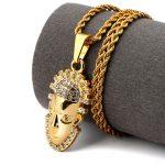 Golden <b>Native</b> <b>American</b> India Chief Necklaces Bling Rhinestone <b>Jewelry</b> Gifts Pendants Men Women Hip Hop Charm Chains