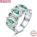 Jrose green luxury ladies <b>jewelry</b> 100% genuine 925 sterling silver ring <b>wedding</b> engagement anniversary ring is free shipping