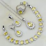Fire Yellow Cubic Zirconia White CZ Bridal 925 <b>Silver</b> Jewelry Sets For Women Wedding Ring/Earring/Pendant/Necklace/<b>Bracelet</b>
