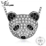 JewelryPalace Panda Bear 0.8ct Pave Genuine Black Spinel Cubic Zirconia Pendant <b>Necklace</b> 925 Sterling <b>Silver</b> 18 Inches Box Chain