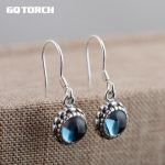 GQTORCH 925 Sterling <b>Silver</b> Drop <b>Earrings</b> For Women With Natural Blue Topaz Stone Simple Vintage Design Oorbellen Voor Vrouwen