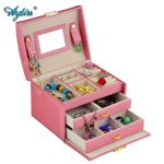 Ayliss Elegant Women Leather Sector Automatic Gift <b>Jewelry</b> Box Display Storage Organizer Carrying Case Boxes Mother's Day Gift