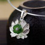 FNJ 925 <b>Silver</b> Flower Pendant for <b>Jewelry</b> Making Hetian Jade 100% Original Pure S925 Sterling <b>Silver</b> Pendants Women