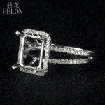 HELON 925 Sterling <b>Silver</b> 6x8mm Cushion Pave 0.3ct Diamonds Classic Eternity Engagement Semi Mount Women's <b>Jewelry</b> Fine Ring