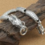 925 <b>Sterling</b> <b>Silver</b> Couple Dragon Bracelet Men Vintage Punk Rock Bracelets Biker Gothic <b>Jewelry</b> Pulsera Hombre