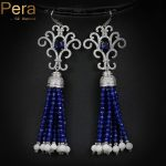 Pera <b>Handmade</b> EU Style Royal Blue Cubic Zircon Stone And Long Dangle Tassel Drop Crystal Ethnic Earrings <b>Jewelry</b> For Women E046