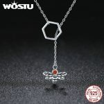 WOSTU 100% Pure 925 Sterling Silver Hexagon Bee Red Cubic Zircon Chain Necklace Female Luxury Party <b>Jewelry</b> <b>Accessories</b> BKN191