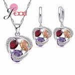 YAAMELI Infinity Crystal Stone 925 Sterling <b>Silver</b> Jewelry Set For Women Girl <b>Necklace</b> Pendent Earrings For Anniversary Party