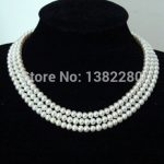 3 Row 7-8mm White pearl necklace 17-19inch ! women fashion <b>jewelry</b> handmade <b>making</b> design