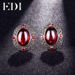 EDI 925 Sterling <b>Silver</b> Garnet Gemstone Clip <b>Earrings</b> for Women Fashion Jewelry Classic Red and Black Vintage Halo <b>Earrings</b>