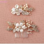 Jonnafe Shell Floral Hair Clip Bridal Comb Set Gold Headpiece Pearls <b>Wedding</b> Hair <b>Jewelry</b> Accessories Handmade