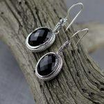 Bali India Nepal Handmade Black Stone 925 <b>Sterling</b> <b>Silver</b> Drop Earrings For Women,Ellipse <b>Jewelry</b> With Natural Stone Earrings