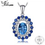 Jewelrypalace Luxury 2ct Genuine Swisss Blue Topaz Created Blue Spinel Cluster Pentant 925 Sterling <b>Silver</b> 45cm Chain Mom Gift