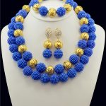 Nigerian Wedding African Beads <b>Jewelry</b> Set Royal Blue African Costume <b>HandMade</b> Double Loop Balls Beads Necklace Sets