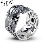 V.YA Retro Peony Flower 990 Sterling Silver Rings for Women Adjustable Thai Silver Ring Vintage <b>Jewelry</b> Wholesale