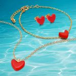 S925 pure <b>silver</b> necklace heart earrings/<b>Bracelet</b>.women red coral heart clavicle chain sweet little red heart Jewelry Sets,gift!