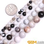 4/6/8/10mm Round White Natural Parral Dendritic Agates Beads DIY Loose Beads For <b>Jewelry</b> <b>Making</b> Strand 15 Inch Wholesale