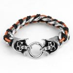 Promotion Fashion Pure <b>Handmade</b> Woven Leather Bracelet New Brand Double Skull Punk Wide Cuff Bracelets&Bangle Men <b>Jewelry</b>