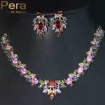 Pera Gold And <b>Silver</b> Color Colorful Cubic Zircon Stone Pave Large Engagement <b>Necklace</b> Jewelry Sets For Women Wedding Party J071