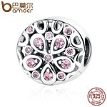 BAMOER Wholesale 100% 925 Sterling Silver Pink Crystals Flower Bead Charms fit Women Bracelets Beads & <b>Jewelry</b> <b>Makings</b> SCC053