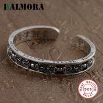 BALMORA Genuine 925 <b>Sterling</b> <b>Silver</b> <b>Jewelry</b> Vintage Round Bangles for Women Men Anniversary Gifts Thai <b>Silver</b> Bijoux SZ0143