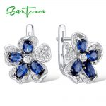 <b>Silver</b> Stud Earrings for Woman Blue Flower Cubic Zirconia Ladies Earrings 925 <b>Sterling</b> <b>Silver</b> Party Fashion <b>Jewelry</b>