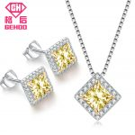 GEHOO Luxury Square Shiny Cubic Zircon Paved Pendant 925 Sterling <b>Silver</b> Jewelry Set for Women Stud <b>Earrings</b> & Pendant Necklace