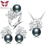 HENGSHENG Real Black Pearl Jewelry Set,Women Flower <b>Silver</b> Pendants&<b>Necklaces</b>&Stud Earrings&Ring,Fashion Jewelry Set,Bread Round
