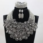 2017 New Nigerian Wedding Flower Exclusive <b>Silver</b> African Beads Jewelry Set Clusters Statement Necklace Set Free Shipping ABH369