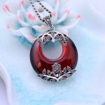 Round Red Garnet 925 Sterling <b>Silver</b> Retro Marcasite Necklace Pendant Women Thai <b>Silver</b> Fine <b>Jewelry</b> Gift Without Chain