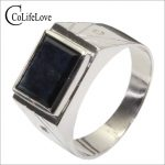 Classic design 8 mm * 10 mm 3 ct natural black sapphire ring for man solid 925 <b>Silver</b> sapphire gemstone ring <b>jewelry</b> for man