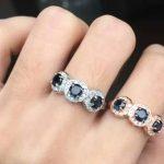 Natural blue sapphire gem Ring Natural gemstone Ring 925 <b>sterling</b> <b>silver</b> trendy luxurious array round women wedding gift <b>Jewelry</b>