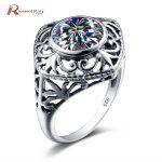<b>Handmade</b> Unique <b>Jewelry</b> Round Cubic Zircon Stone Ring Retro 925 Sterling Silver Wedding CZ Rings For Women Gift Matching Eternal