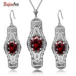 Szjinao 925 <b>Silver</b> Sets Wedding Costume Accessories Garnet Bridal <b>Earrings</b> /Pendant Jewelry Sets For Brides Wholesale