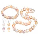 SNH AA 12mm Baroque Bracelet & Necklace & <b>Earrings</b> 925 Sterling <b>Silver</b> Natural Cultured Freshwater Pearl Jewelry Set Gift