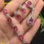 KJJEAXCMY boutique jewels 925 <b>silver</b> inlay natural pink topaz ring pendant <b>earrings</b> bracelet 4 suit jewelry necklace sent sdf