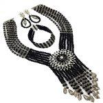 <b>Handmade</b> 2018 Nigerian Wedding African Beads <b>Jewelry</b> Set Grey Black Crystal Beads Necklace <b>Jewelry</b> Set 6C-SDLS-019