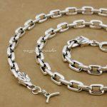 925 <b>Sterling</b> <b>Silver</b> Wolf Mens Biker Rocker Necklace 8G012N Punk <b>Jewelry</b> 18″ to 36″