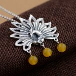 925 Silver Peacock Pendant Necklace for Women Yellow Bead Accessorice Link Chain S925 Thai Solid Silver <b>Jewelry</b> <b>Making</b> Necklaces